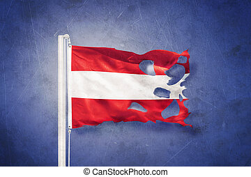 Torn flag of Austria flying against grunge background