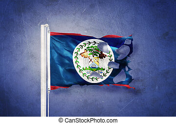 Torn flag of Belize flying against grunge background