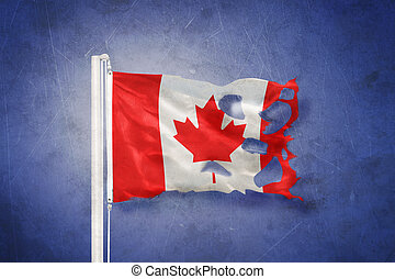 Torn flag of Canada flying against grunge background