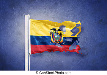 Torn flag of Ecuador flying against grunge background