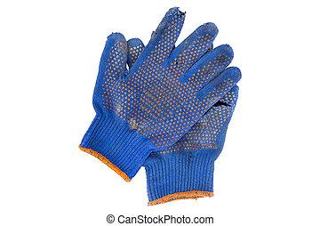 torn gloves blue
