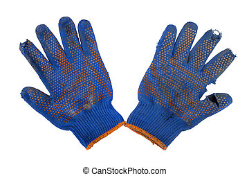 torn gloves on a white background