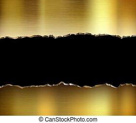 Torn golden metal plate. Broken steel background.