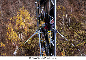 torn, guyed, insida, klättrare