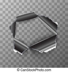 Torn hole in glossy metal plate on transparent background