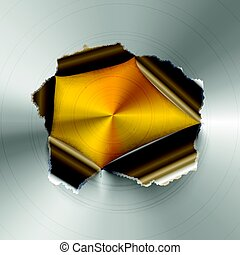 Torn hole in glossy round polished metal plate on golden...