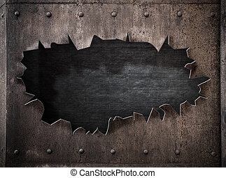 torn hole in rusty metal steam punk background with rivets