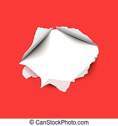 Torn hole in the sheet of red paper. Vector illustration.