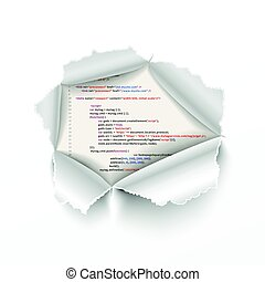 Torn hole in white sheet on complicated HTML program code