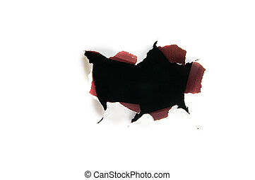 torn hole on white - grunge paper tear