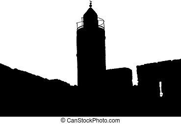 torn, jerusalem, silhuett, david