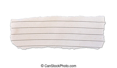 Torn lined paper banner, isolated on white.