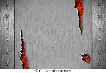 Torn metal armor with rivets over rusty grunge background