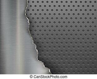 Torn metal background. Broken steel plate. Vector illustration.