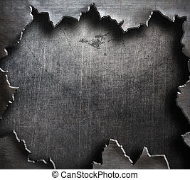 torn metal with big ripped hole - torn grunge metal...