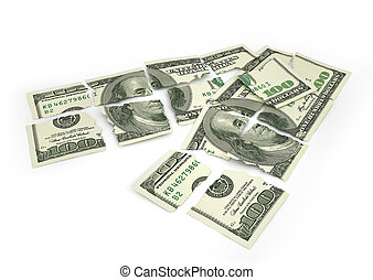 Torn money isolated on a white background. 3d illustration