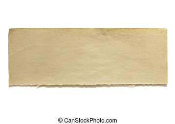 Ripped piece of fifty year old notepaper, isolated on white. Lots of copy-space for your message. Great textures.