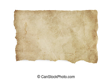 Torn Old Stained Paper with Clipping Path