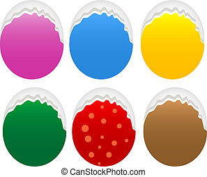 Torn oval paper stickers label tag set