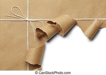 Torn Package - Brown Paper Parcel with Rope Torn Open on...