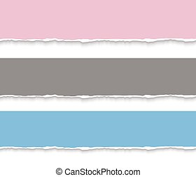 Torn paper blank banners. Vector realistic illustration