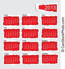 Torn paper calendar 2013
