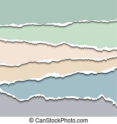 Torn paper - Colored torn paper pastel background. Vector...