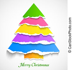 Torn paper colorful christmas tree