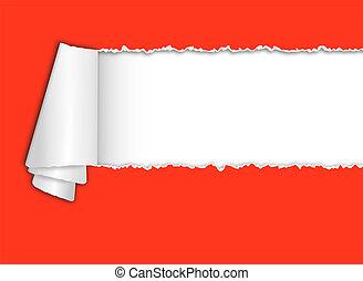 torn-paper, com, espaço, para, texto