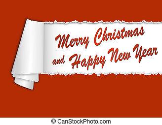 torn-paper, com, feliz natal, e, feliz ano novo