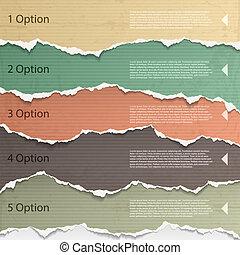 Torn paper - Design elements - multi colored torn paper.
