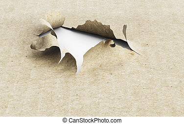 Torn paper hole on a white background. 3d illustration.