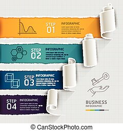 Torn paper infographics template