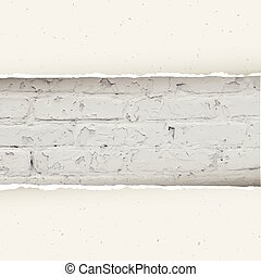 Torn paper on brick wall background. Vector