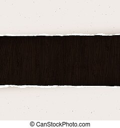 Torn paper on wooden background. Vector