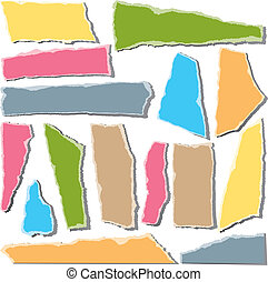 Torn paper pieces on white background. Vector Illustration