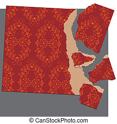 Torn Paper Puzzle Series - Torn Paper Puzzle With Floral...