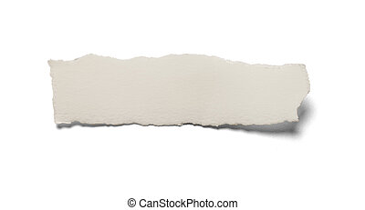 Ripped piece of white paper with torn edges isolated on a white background.