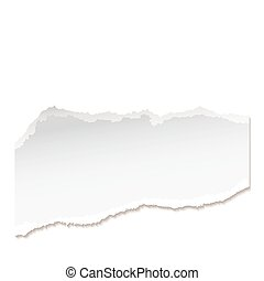 Torn piece of white paper with ripped edges and copyspace