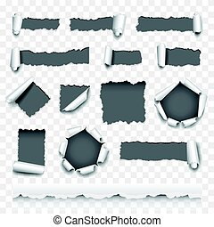 Torn paper vector set - Torn paper detailed photo realistic...
