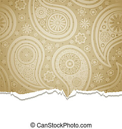 Torn paper with a paisley pattern.