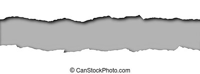 Torn paper with grey space for text isolated on a white ...
