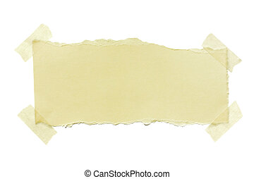 Torn Paper with Masking Tape - Torn yellow paper fastened...