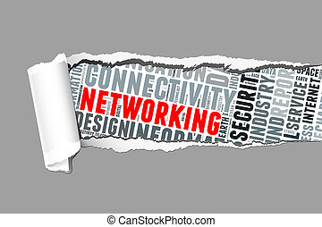 Torn Paper with networking info-text graphics and arrangement concept  (word cloud)