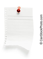 Torn Paper with Pushpin on White Background