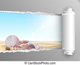 The window in the summer. Torn paper with opening showing summer background with seashell on the beach. Vector illustration