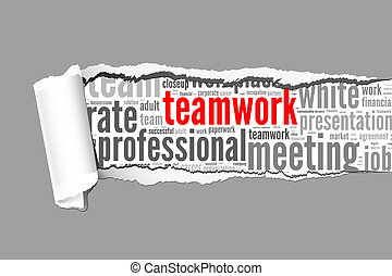 Torn Paper with teamwork info-text graphics and arrangement concept  (word cloud)
