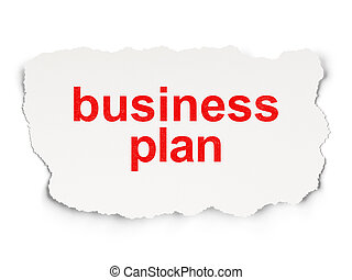 Torn paper with words business plan on  background