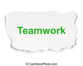 Torn paper with words Teamwork on  background