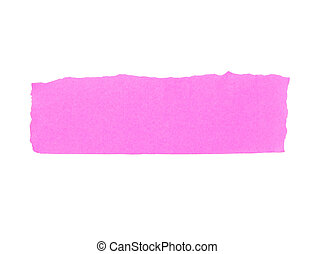Torn pink paper banner isolated on white.